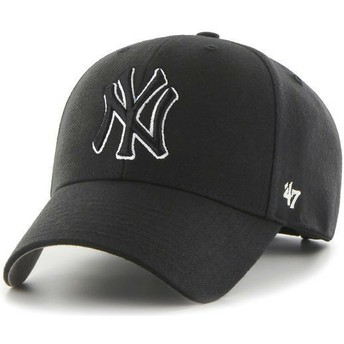 47 Brand Curved Brim Black And White Logo Black Logo New York Yankees MLB MVP Black Snapback Cap