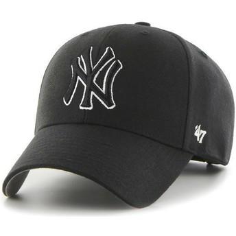47 Brand Curved Brim Black And White Logo Black Logo New York Yankees MLB MVP Black Snapback Cap