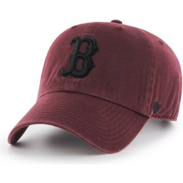 47-brand-curved-brim-black-logo-boston-red-sox-mlb-clean-up-maroon-cap