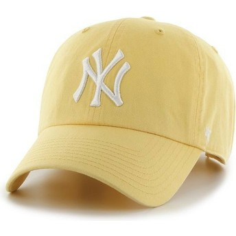 47 Brand Curved Brim New York Yankees MLB Clean Up Yellow Cap
