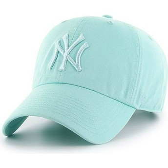 47 Brand Curved Brim Light Green Logo New York Yankees MLB Clean Up Light Green Cap
