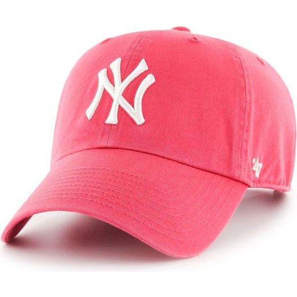47-brand-curved-brim-new-york-yankees-mlb-clean-up-bubblegum-pink-cap