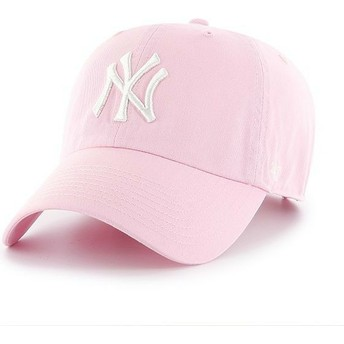 47 Brand Curved Brim New York Yankees MLB Clean Up Light Pink Cap