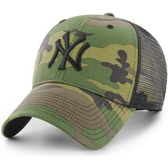 47 Brand Black Logo New York Yankees MLB Branson MVP Camouflage Trucker Hat