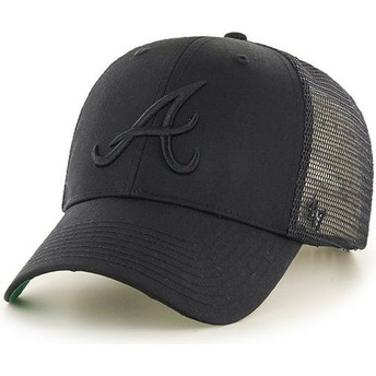 47 Brand Black Logo Atlanta Braves MLB MVP Branson Black Trucker Hat