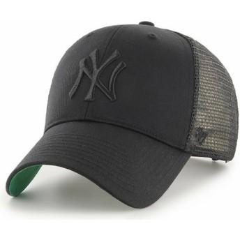 47 Brand Black Logo New York Yankees MLB MVP Branson Black Trucker Hat