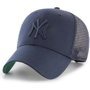 47 Brand Navy Blue Logo New York Yankees MLB MVP Branson Navy Blue Trucker Hat