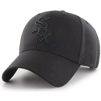 47 Brand Curved Brim Black Logo Chicago White Sox MLB MVP Black Snapback Cap