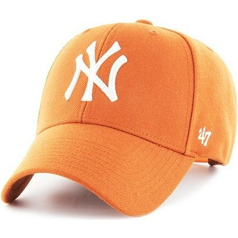 47 Brand Curved Brim New York Yankees MLB MVP Orange Snapback Cap