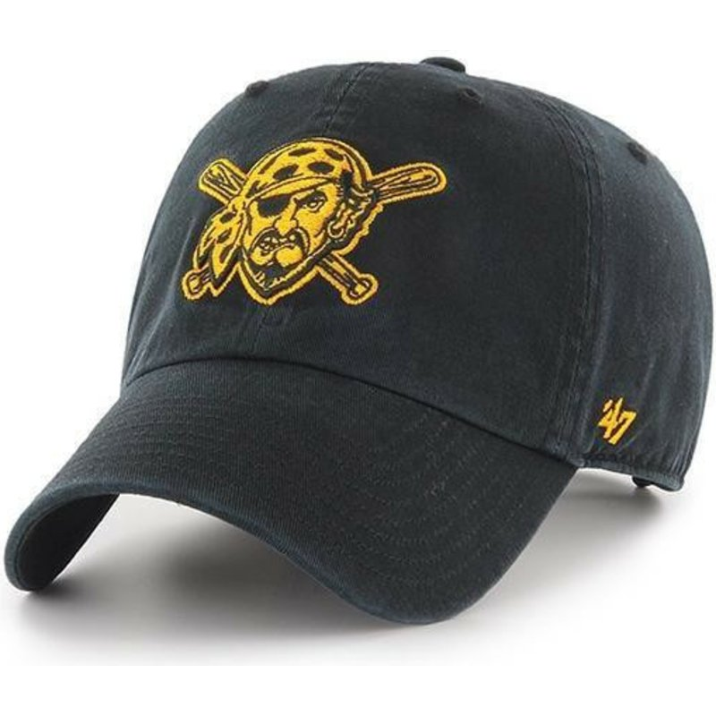 47-brand-curved-brim-pirate-logo-pittsburgh-pirates-mlb-clean-up-black-cap