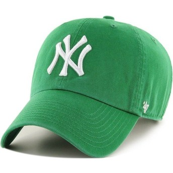 47 Brand Curved Brim New York Yankees MLB Clean Up Green Cap