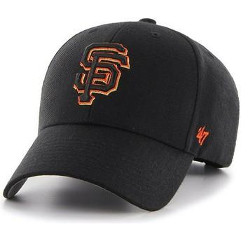 47 Brand Curved Brim Orange Logo San Francisco Giants MLB MVP Black Cap