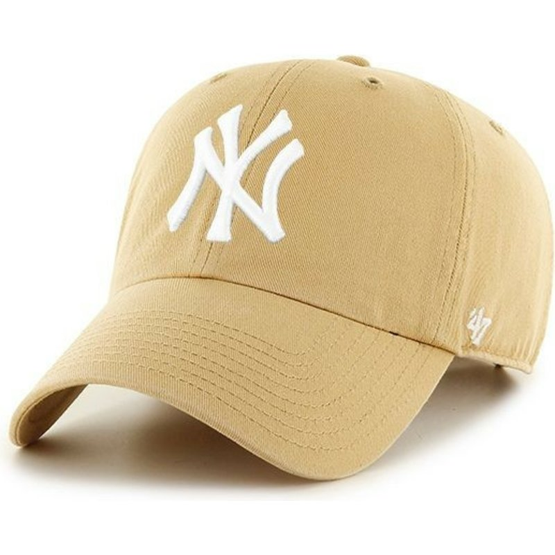47-brand-curved-brim-new-york-yankees-mlb-clean-up-light-brown-cap