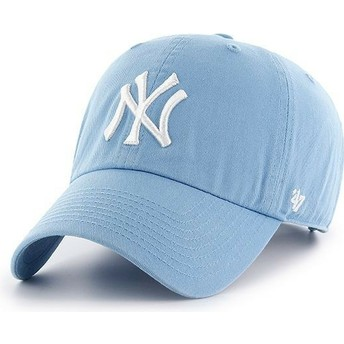 47 Brand Curved Brim New York Yankees MLB Clean Up Carolina Blue Cap