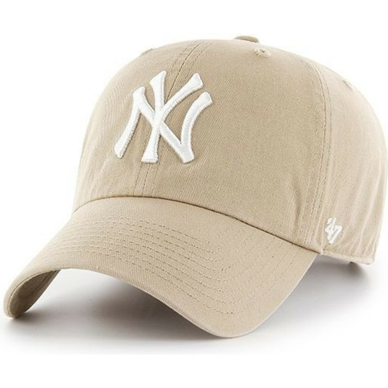 47-brand-curved-brim-white-logo-new-york-yankees-mlb-clean-up-khaki-cap