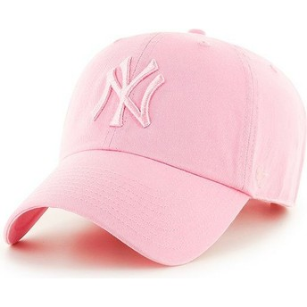 47 Brand Curved Brim Pink Logo New York Yankees MLB Clean Up Pink Cap