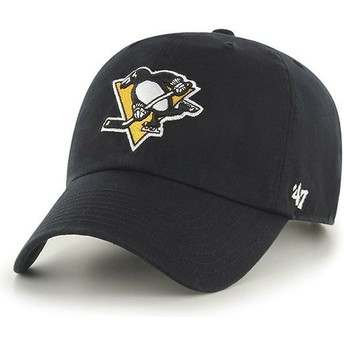 47 Brand Curved Brim Pittsburgh Penguins NHL Clean Up Black Cap