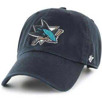 47 Brand Curved Brim San Jose Sharks NHL Clean Up Black Cap