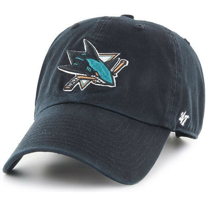 47-brand-curved-brim-san-jose-sharks-nhl-clean-up-black-cap