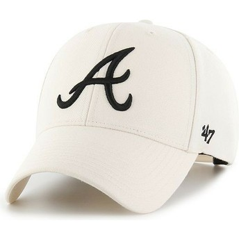 47 Brand Curved Brim Atlanta Braves MLB MVP Snapback Cream Cap