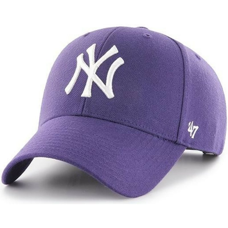 47-brand-curved-brim-new-york-yankees-mlb-mvp-purple-snapback-cap