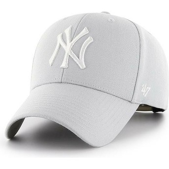 47 Brand Curved Brim New York Yankees MLB MVP Silver Grey Snapback Cap
