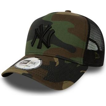 New Era New York Yankees MLB Clean A Frame Camouflage Trucker Hat
