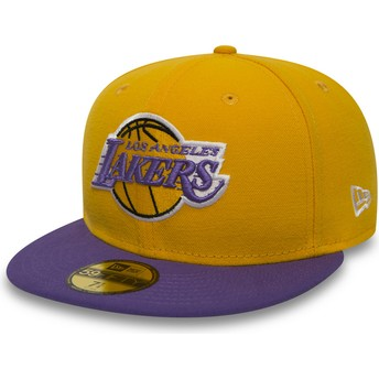 New Era Flat Brim 59FIFTY Essential Los Angeles Lakers NBA Yellow Fitted Cap
