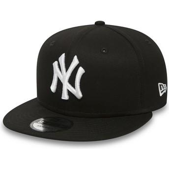 New Era Flat Brim 9FIFTY White on Black New York Yankees MLB Black Snapback Cap