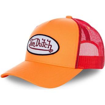 Von Dutch FRESH03 Orange and Red Trucker Hat