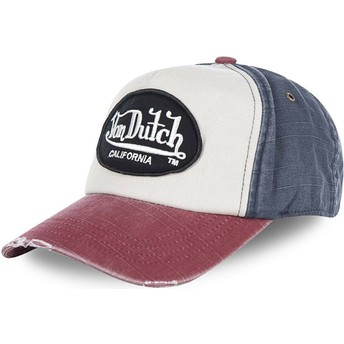 Von Dutch Curved Brim JACKBWR White, Blue and Red Adjustable Cap