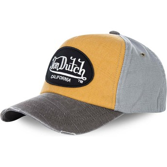 Von Dutch Curved Brim JACKGOG Yellow and Grey Adjustable Cap