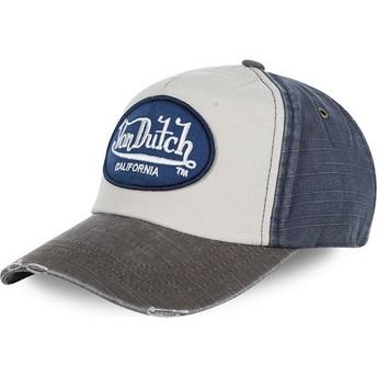 Von Dutch Curved Brim JACKMWB White, Blue and Grey Adjustable Cap