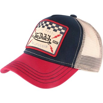 Von Dutch SQUARE16 Navy Blue, White and Red Trucker Hat