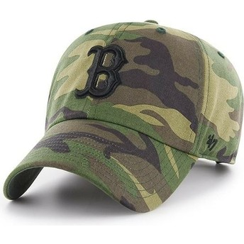 47 Brand Curved Brim Black Logo Boston Red Sox MLB Clean Up Unwashed Camouflage Cap