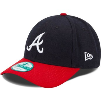 New Era Curved Brim 9FORTY The League Atlanta Braves MLB Navy Blue and Red Adjustable Cap