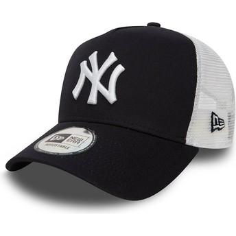 New Era Clean A Frame 2 New York Yankees MLB Navy Blue Trucker Hat