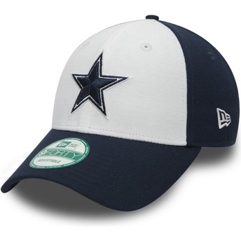 New Era Curved Brim 9FORTY The League Dallas Cowboys NFL White and Navy Blue Adjustable Cap