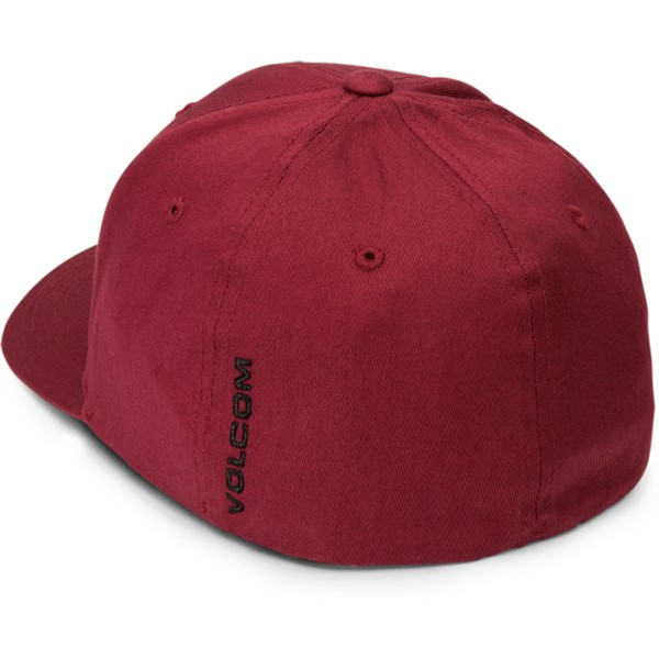 volcom-curved-brim-crimson-full-stone-xfit-red-fitted-cap