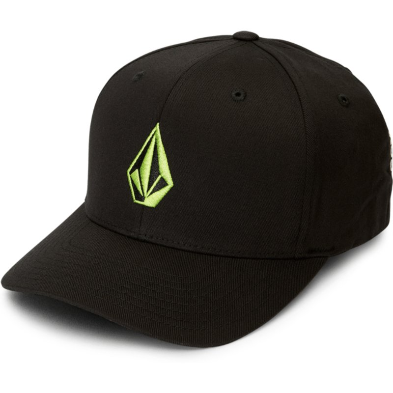 volcom-curved-brim-green-logo-thyme-green-full-stone-xfit-black-fitted-cap
