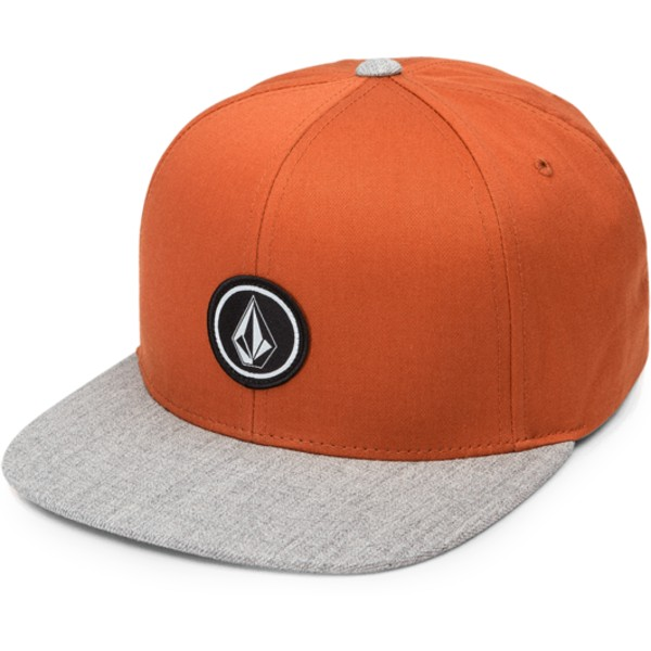 volcom-flat-brim-copper-quarter-twill-orange-snapback-cap-with-grey-visor