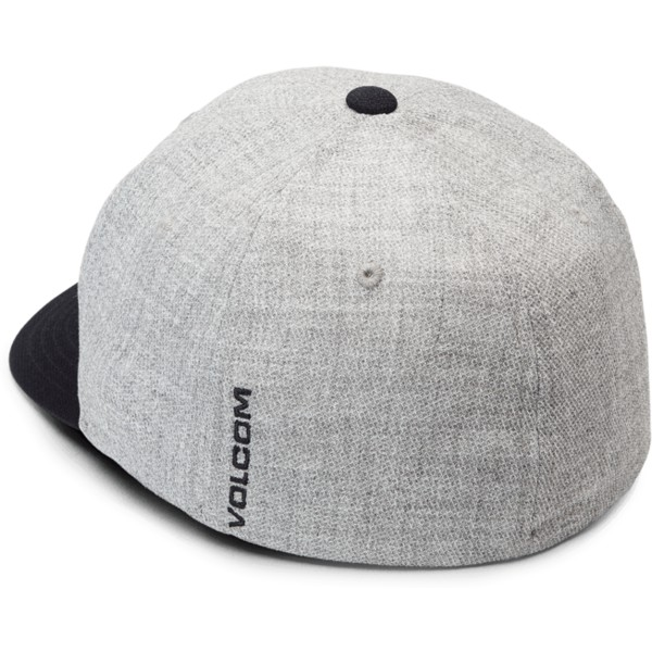 volcom-curved-brim-navy-heather-full-stone-hthr-xfit-grey-fitted-cap-with-navy-blue-visor