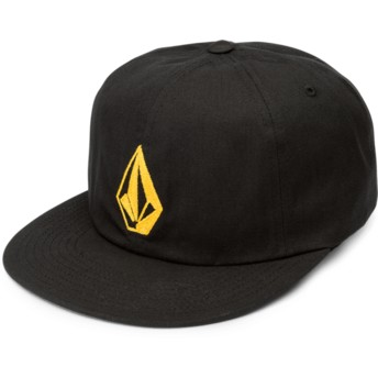 Volcom Flat Brim Golden Logo Golden Haze Stone Battery Black Adjustable Cap