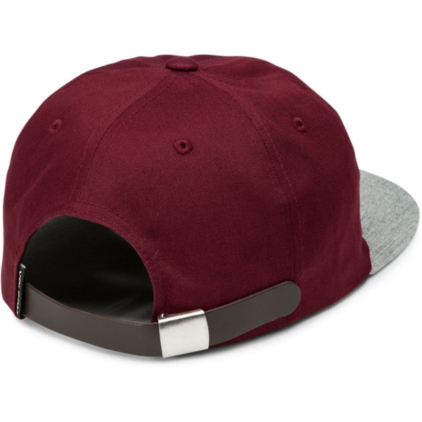 volcom-flat-brim-wild-ginger-stone-battery-red-adjustable-cap-with-grey-visor