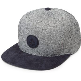 Volcom Flat Brim Indigo Quarter Fabric Grey Snapback Cap with Navy Blue Visor