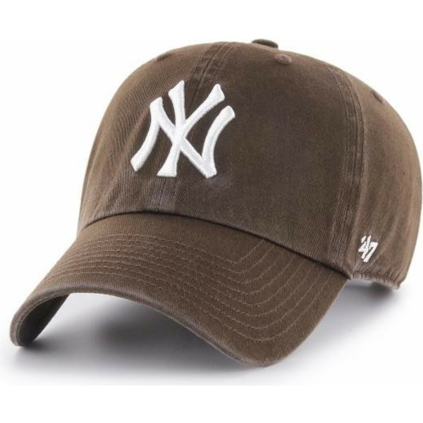 47-brand-curved-brim-darknew-york-yankees-mlb-clean-up-brown-cap