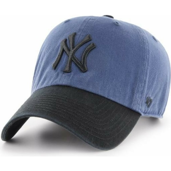 47-brand-curved-brim-black-logo-new-york-yankees-mlb-clean-up-two-tone-navy-blue-cap-with-black-visor