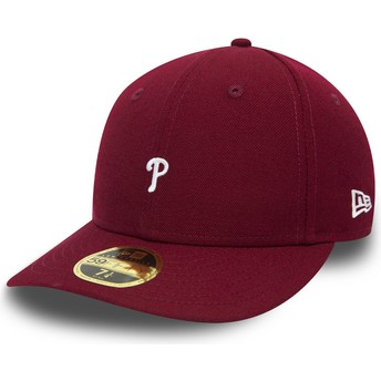 New Era Curved Brim 59FIFTY Low Profile Mini Logo Philadelphia Phillies MLB Purple Fitted Cap