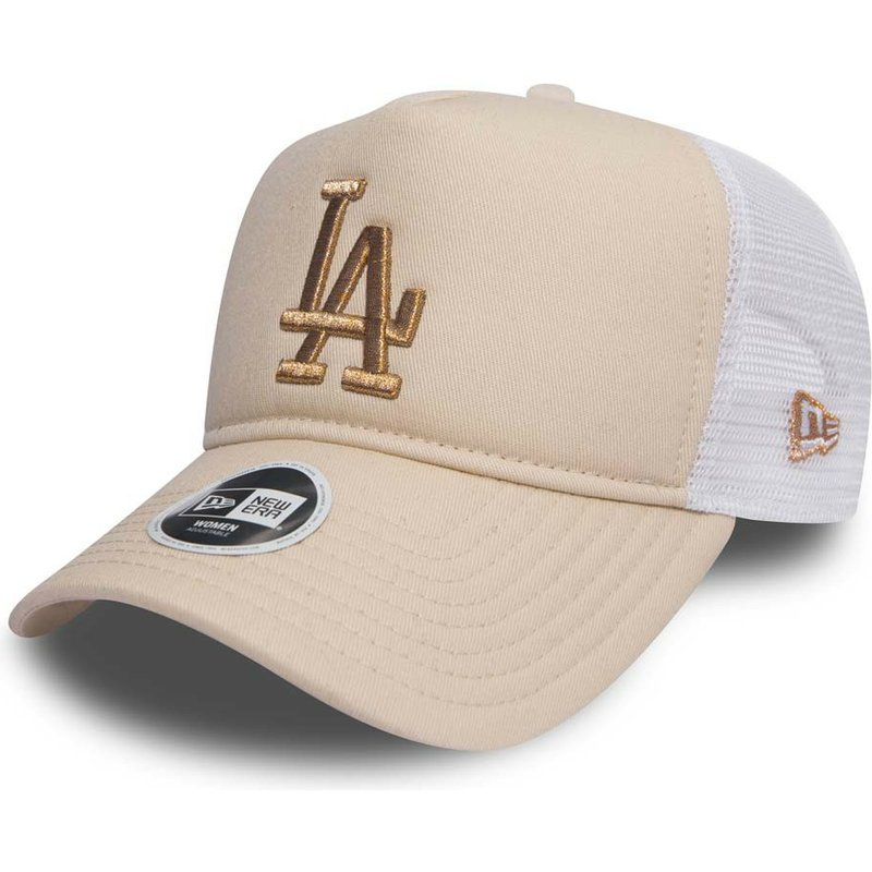new-era-bronze-logo-9forty-essential-los-angeles-dodgers-mlb-pink-trucker-hat