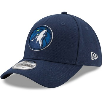 New Era Curved Brim 9FORTY The League Minnesota Timberwolves NBA Navy Blue Adjustable Cap